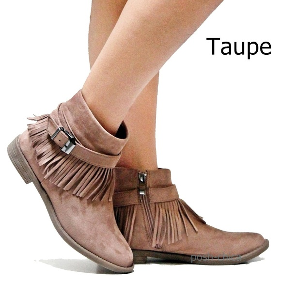 74ed75eec13ce Taupe Western Fringe Moccasin Booties Ankle Boot Boutique